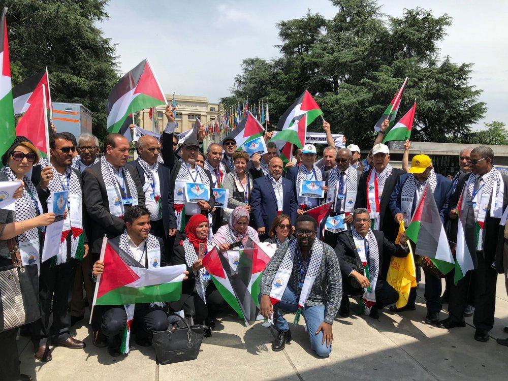 HAK-İŞ'TEN BM ÖNÜNDE İSRAİL'İ PROTESTO EYLEMİ