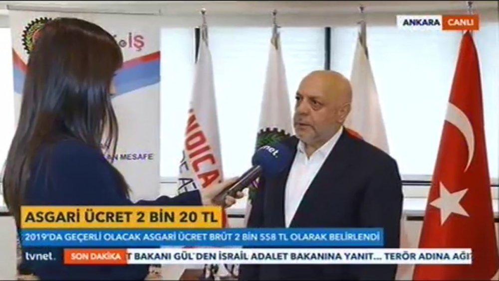ARSLAN TVNET EKRANLARINDA 2019 YILI ASGARİ ÜCRETİNİ DEĞERLENDİRDİ