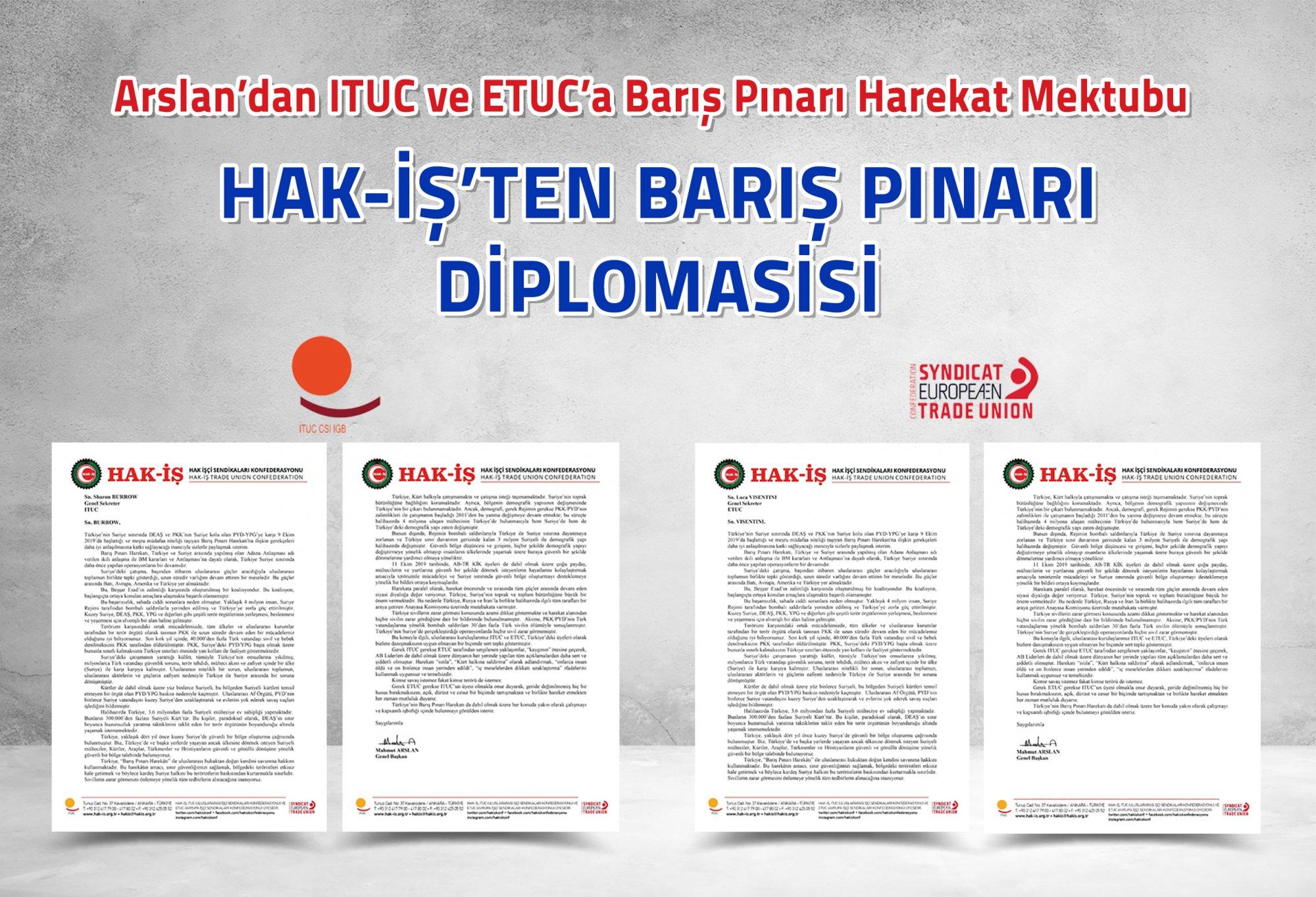 ARSLAN'DAN ITUC VE ETUC'A BARIŞ PINARI HAREKAT MEKTUBU